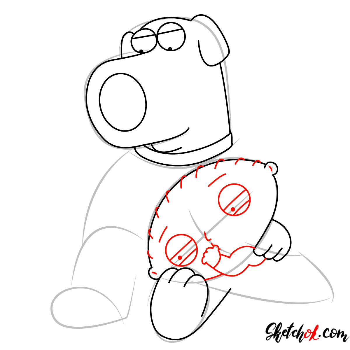How to draw Stewie and Brian Griffin - step 06
