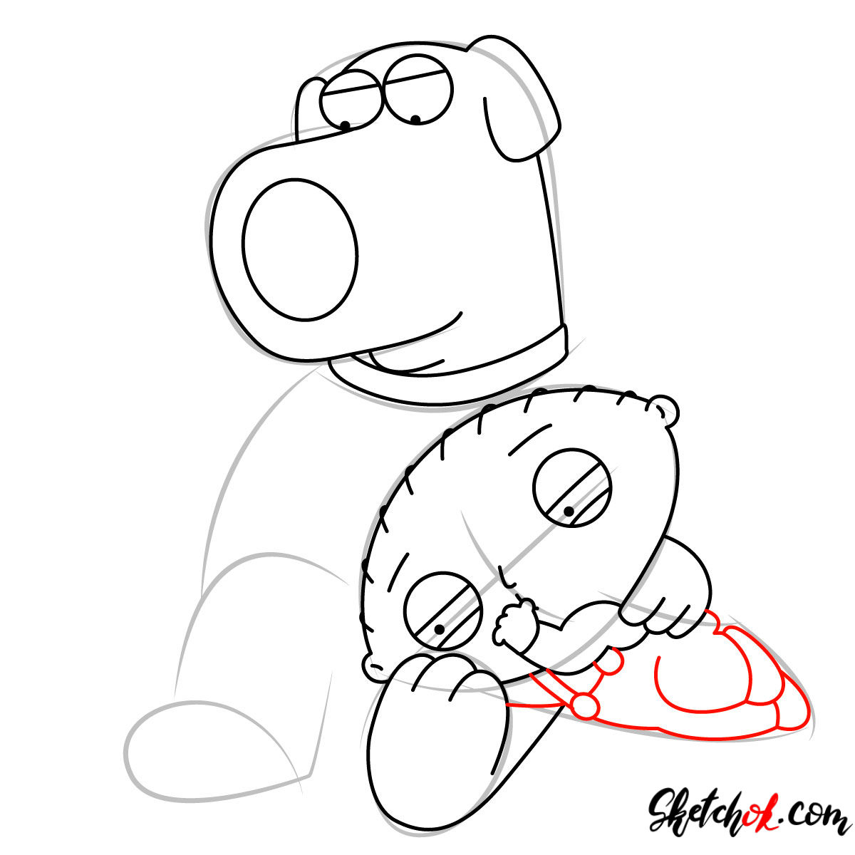 How to draw Stewie and Brian Griffin - step 07
