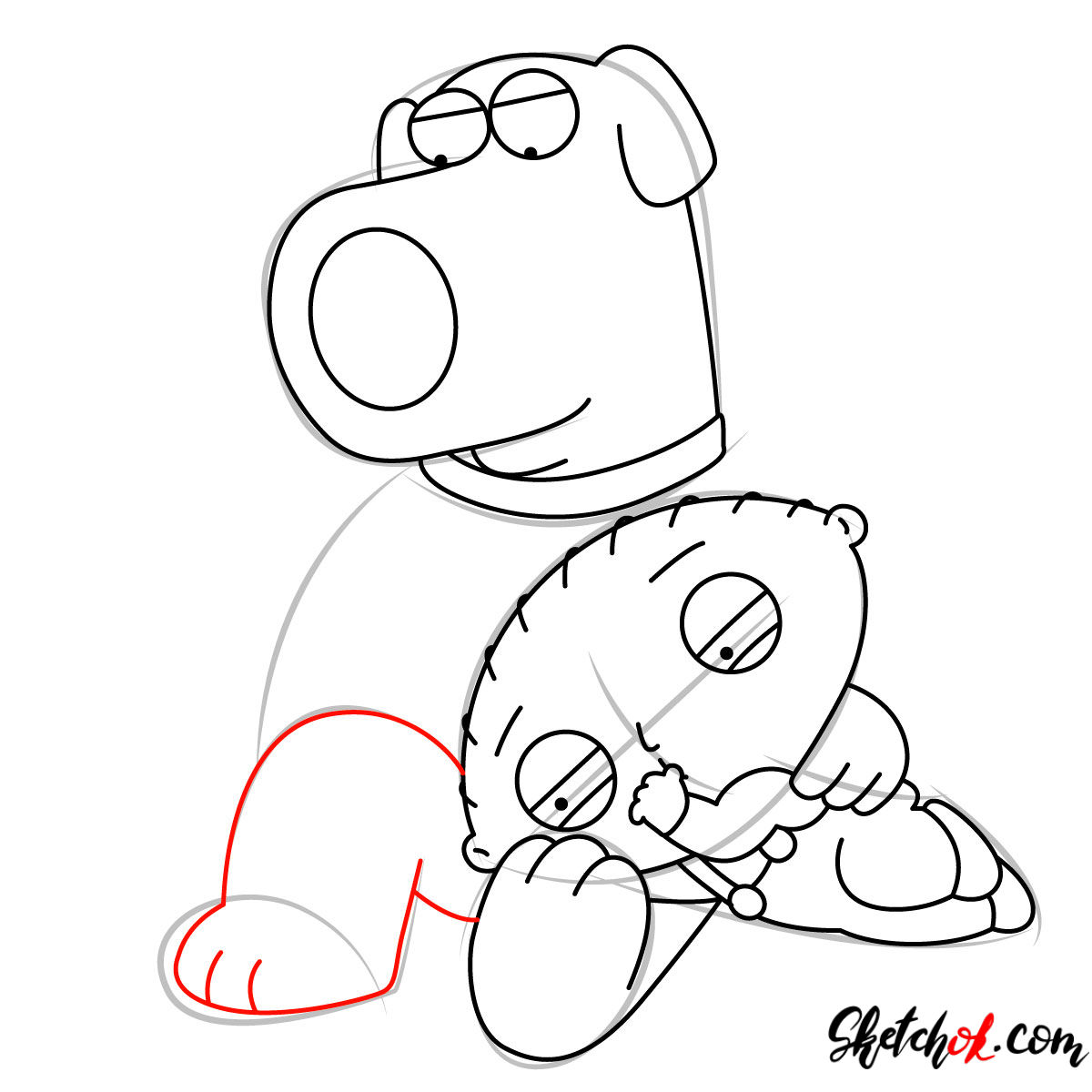 How to draw Stewie and Brian Griffin - step 08
