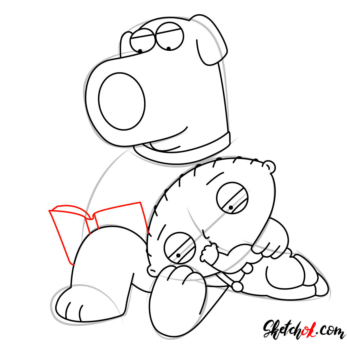 How to draw Stewie and Brian Griffin - step 09