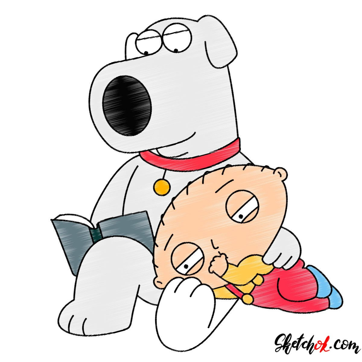 How to draw Stewie and Brian Griffin - coloring
