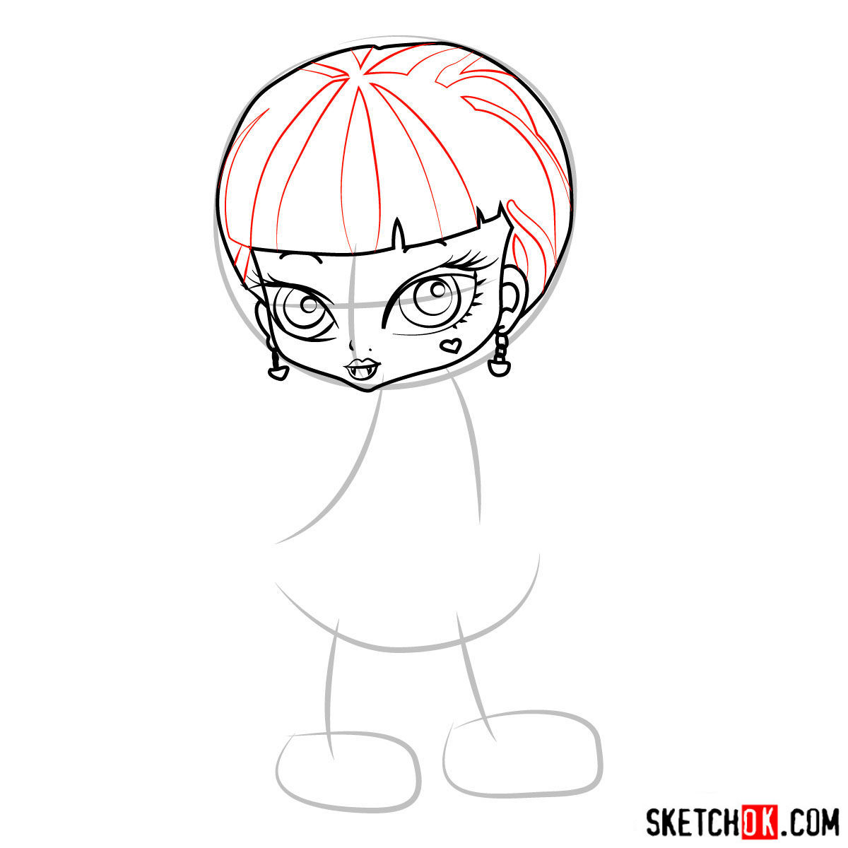 How to draw Draculaura chibi - step 06