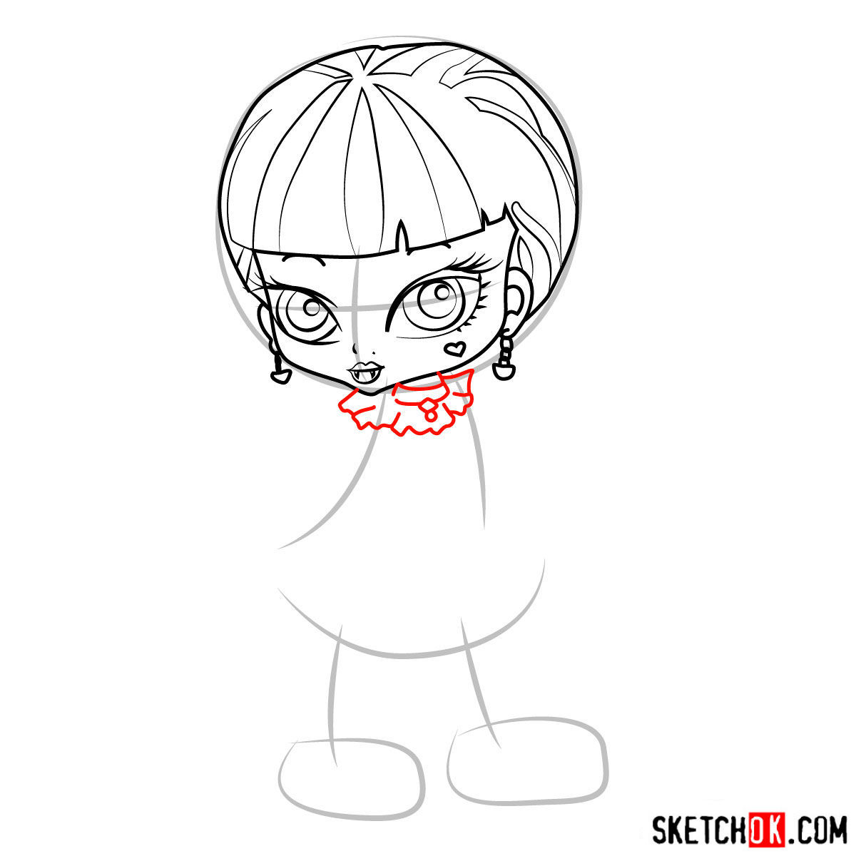 How to draw Draculaura chibi - step 07