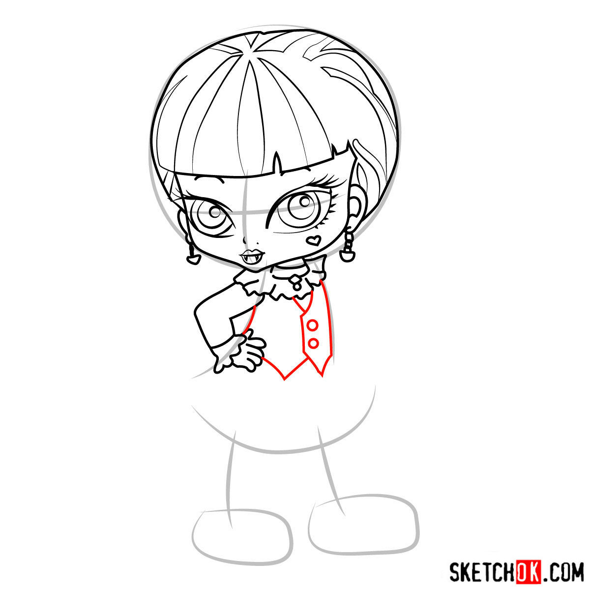 How to draw Draculaura chibi - step 09