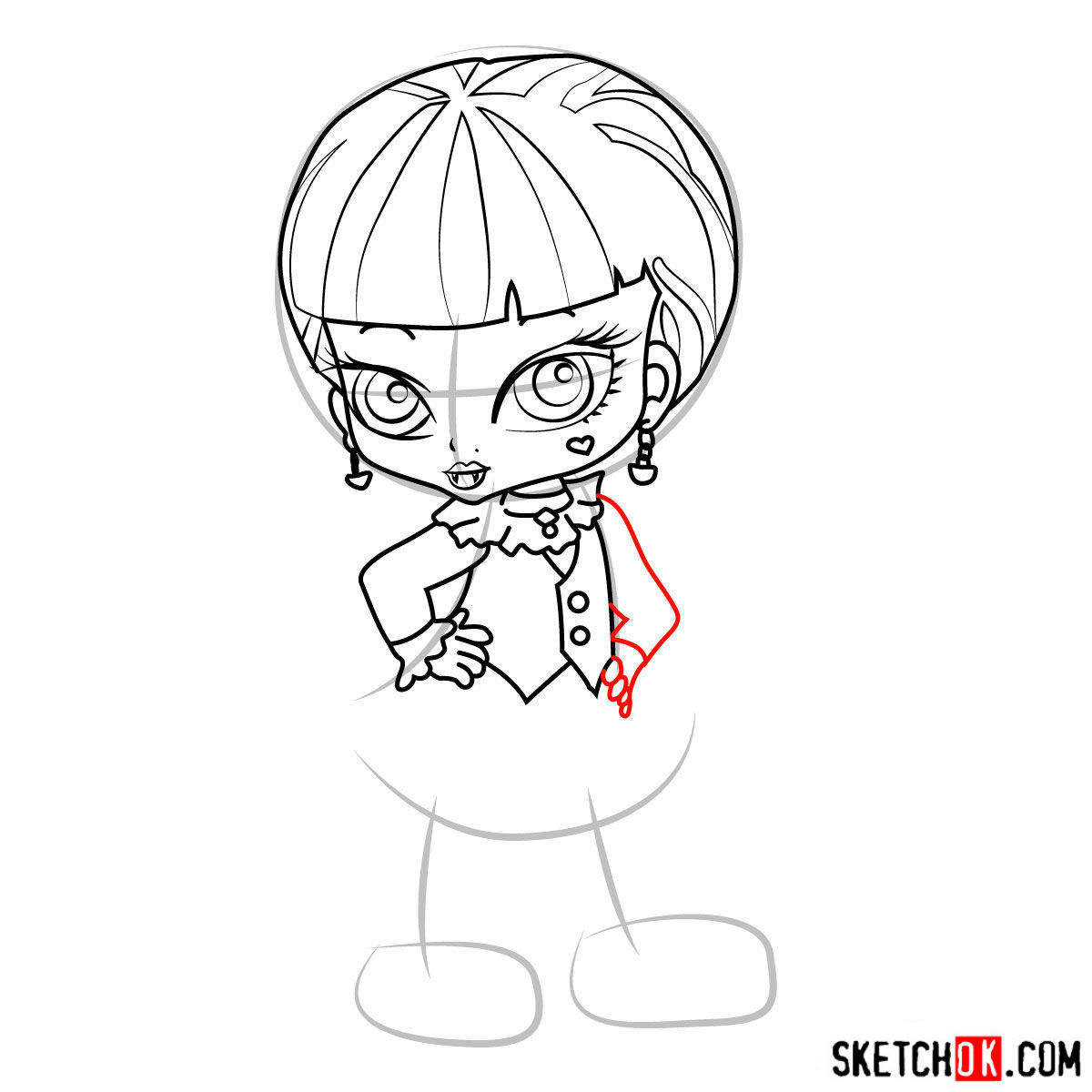 How to draw Draculaura chibi - step 10