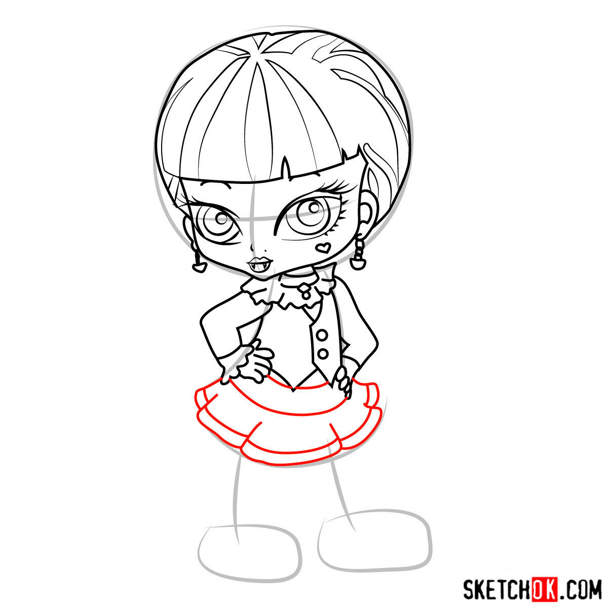 How to draw Draculaura chibi - step 11