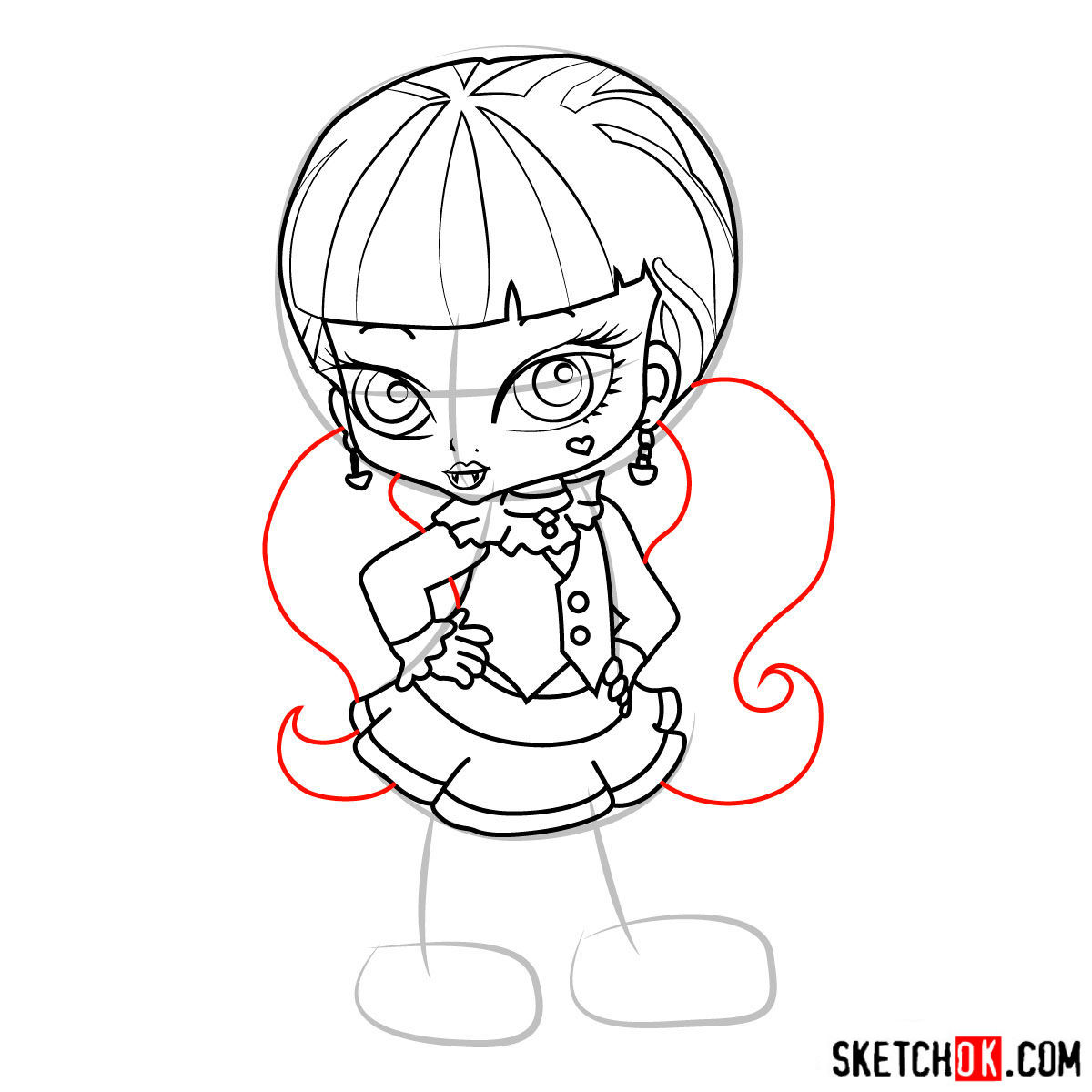 How to draw Draculaura chibi - step 12