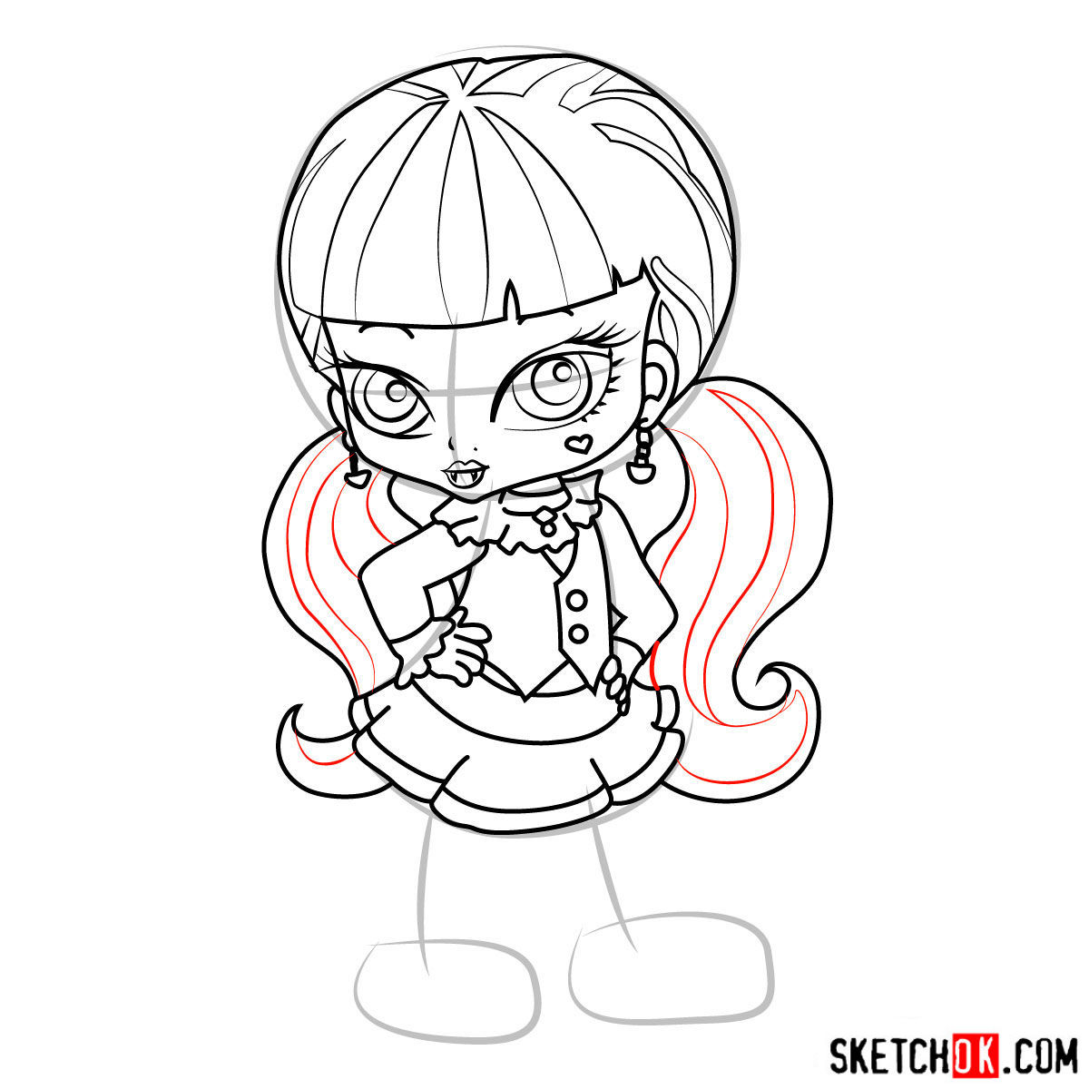 How to draw Draculaura chibi - step 13