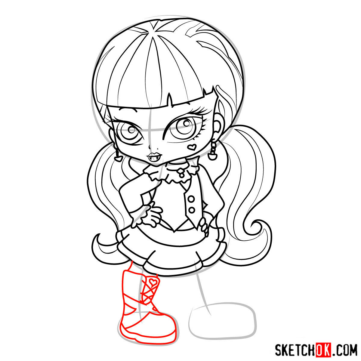 How to draw Draculaura chibi - step 14
