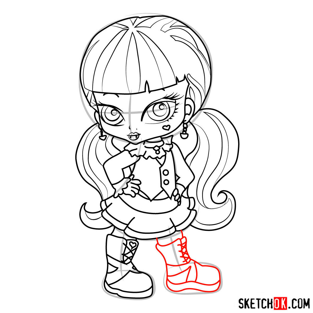 How to draw Draculaura chibi - step 15