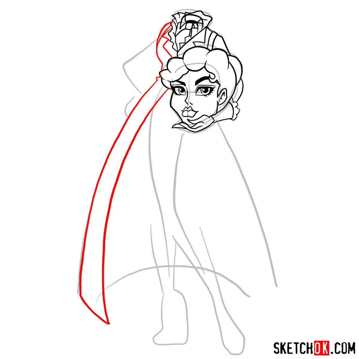 How to draw Headless Headmistress Bloodgood - step 07