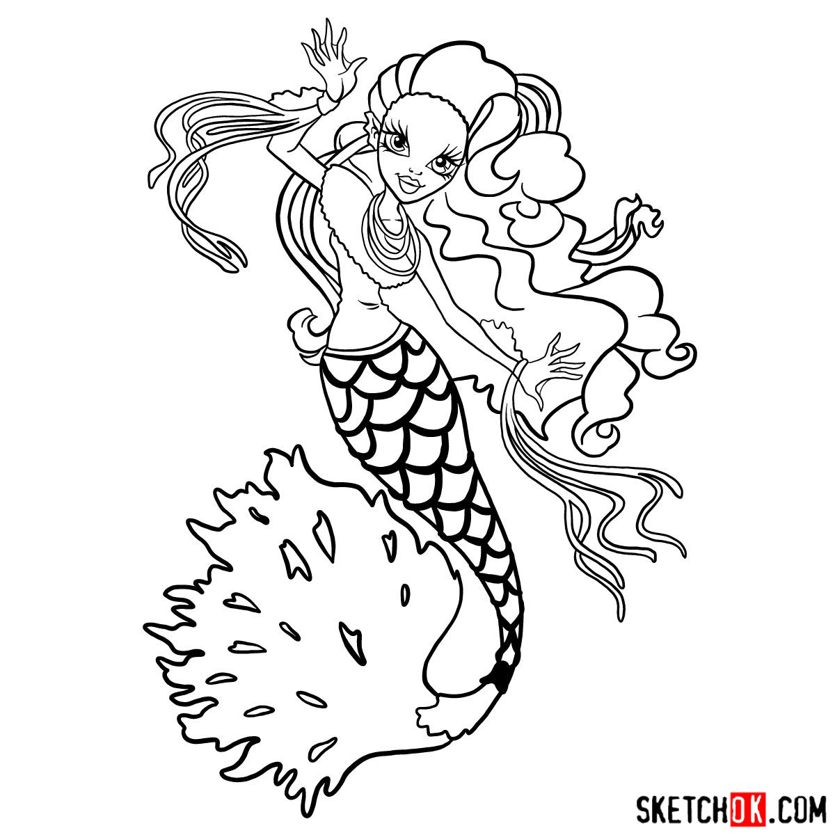How to draw Sirena Von Boo - step 17