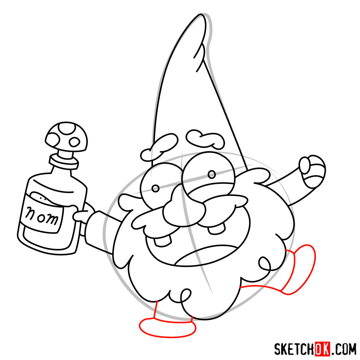 How to draw Gnome from Gravity Falls - step 08