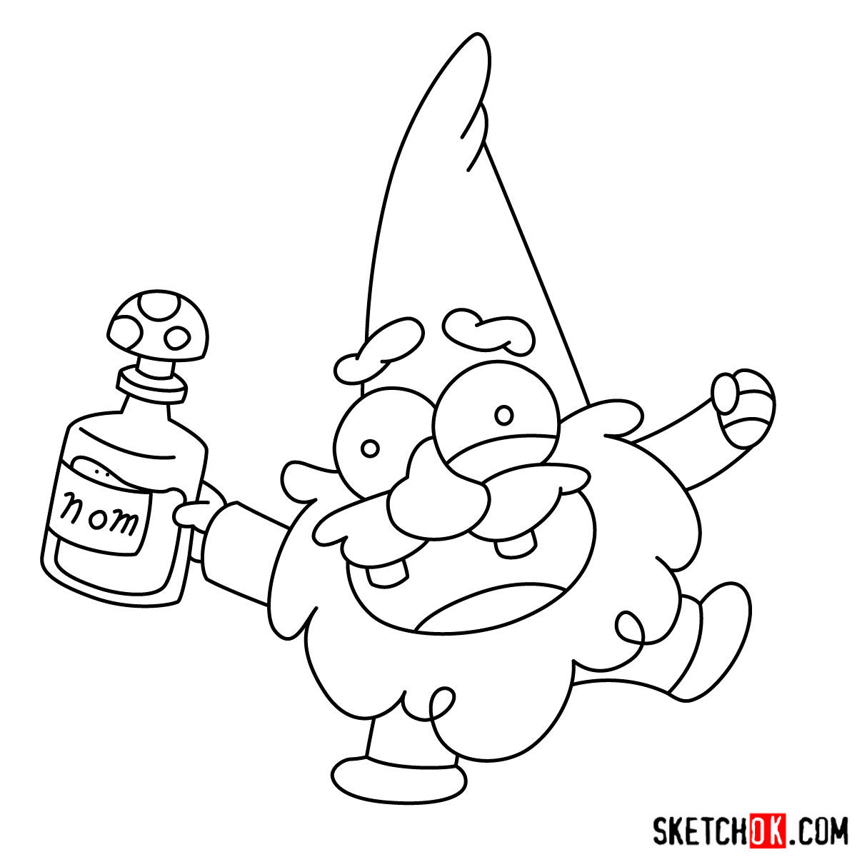 How to draw Gnome from Gravity Falls - step 09