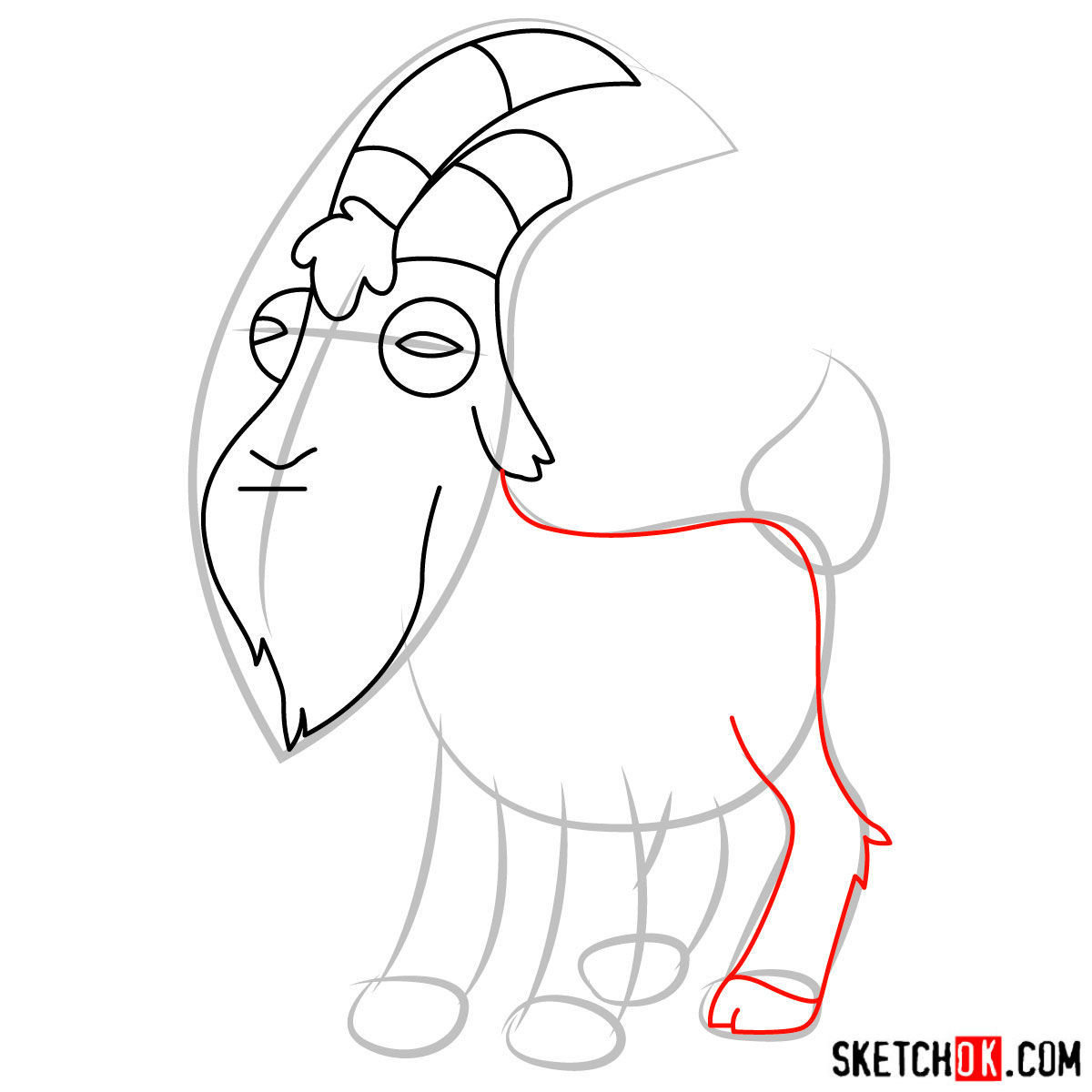 How to draw Gompers the goat - step 05