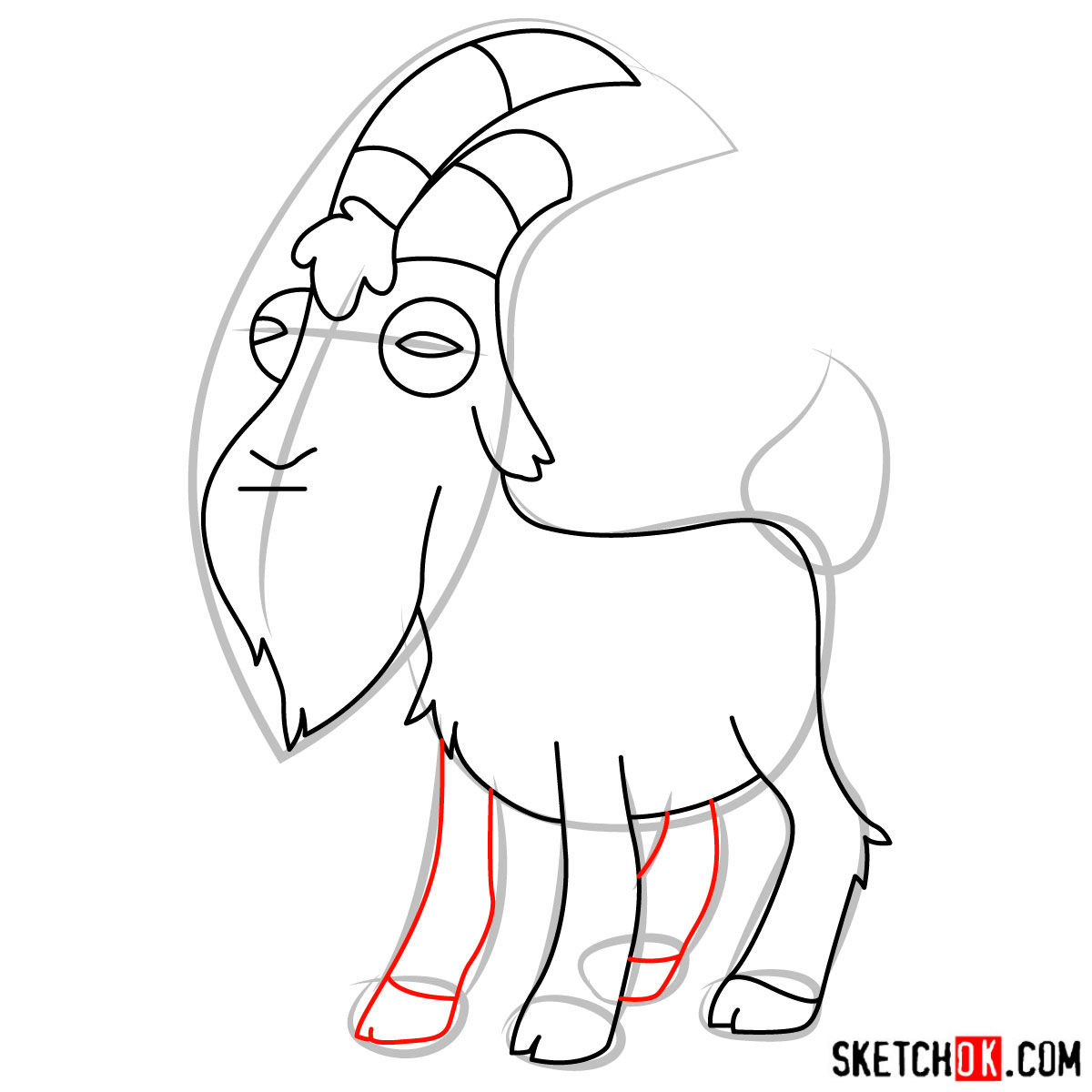 How to draw Gompers the goat - step 08