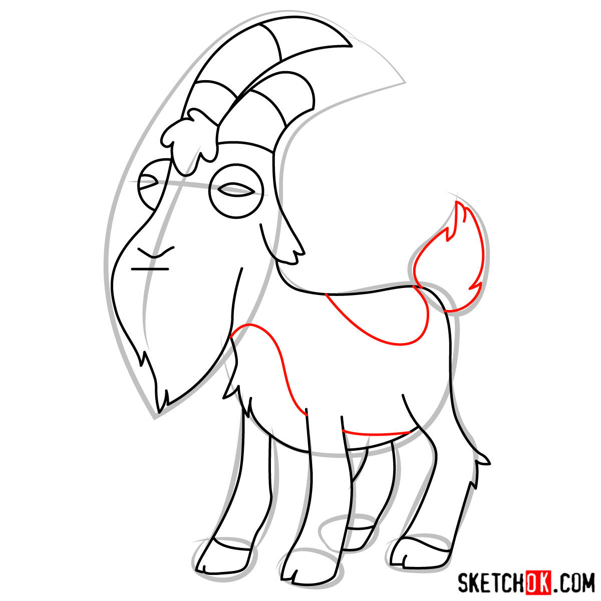 How to draw Gompers the goat - step 09
