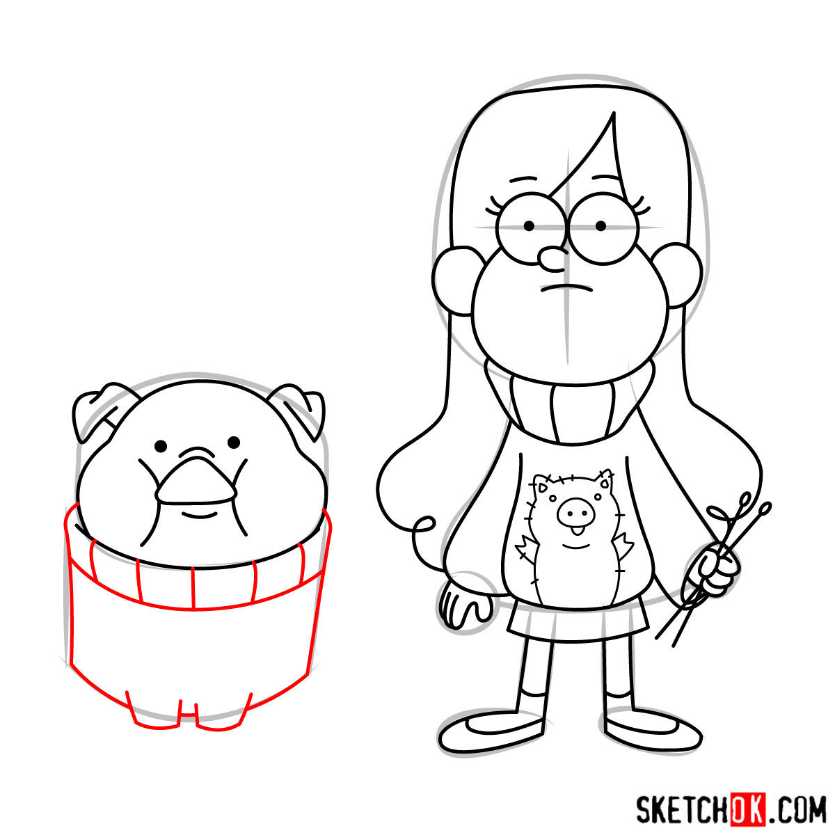 How to draw Mabel Pines with Pig - step 14