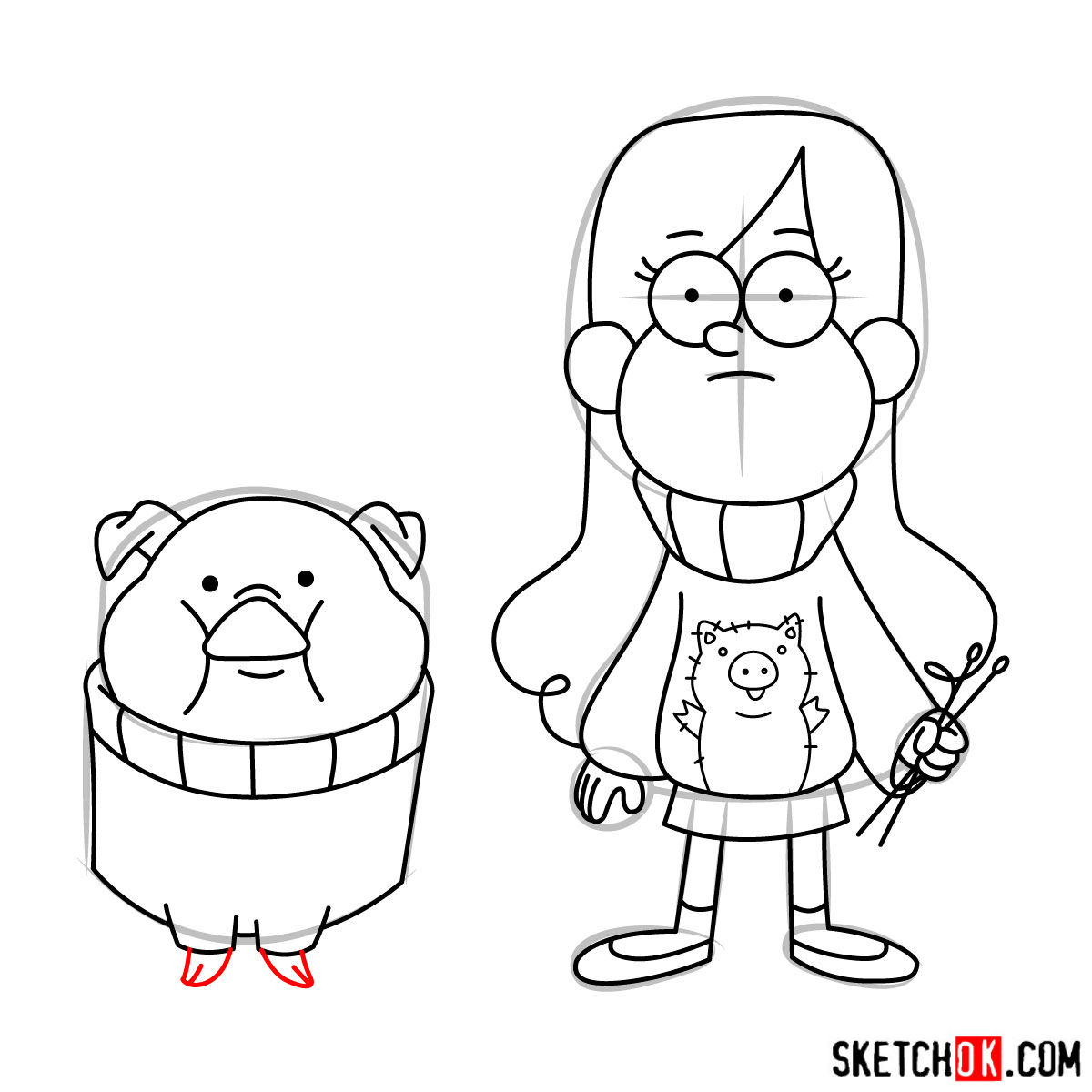 How to draw Mabel Pines with Pig - step 15