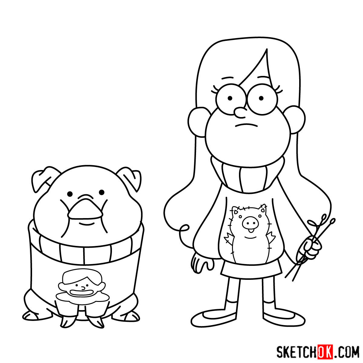 How to draw Mabel Pines with Pig - step 18