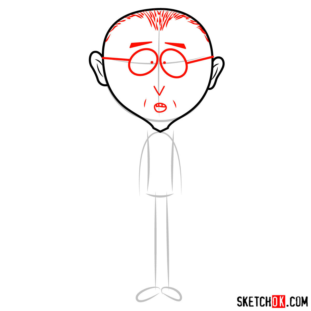 How to draw Mr. Mackey from South Park - step 03