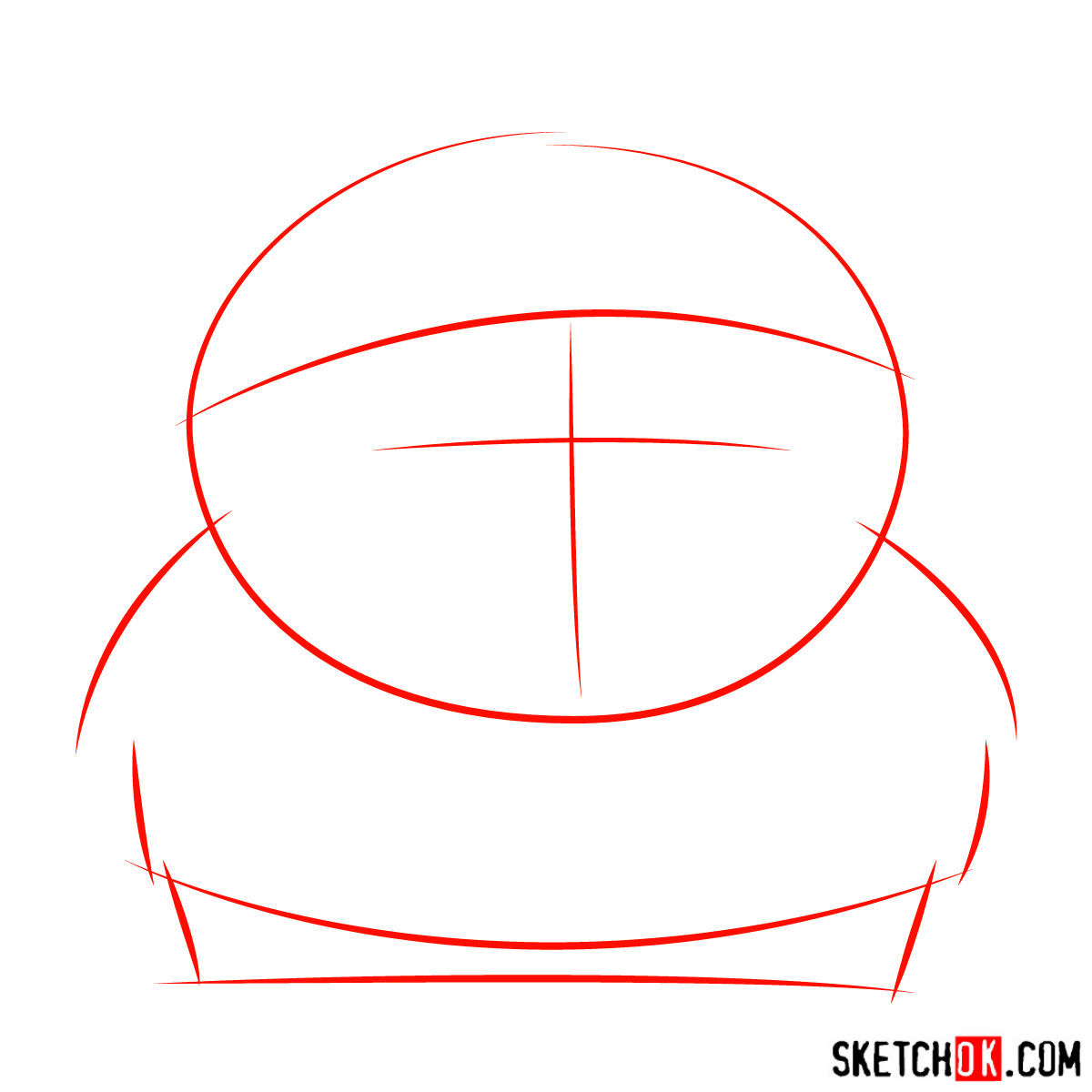 How to draw angry Eric Cartman - step 01