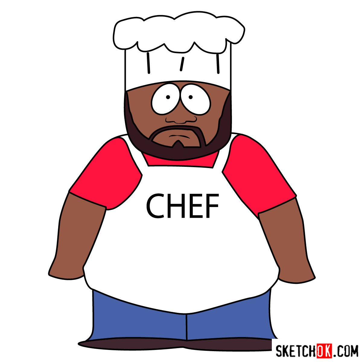 How to draw Chef McElroy from South Park