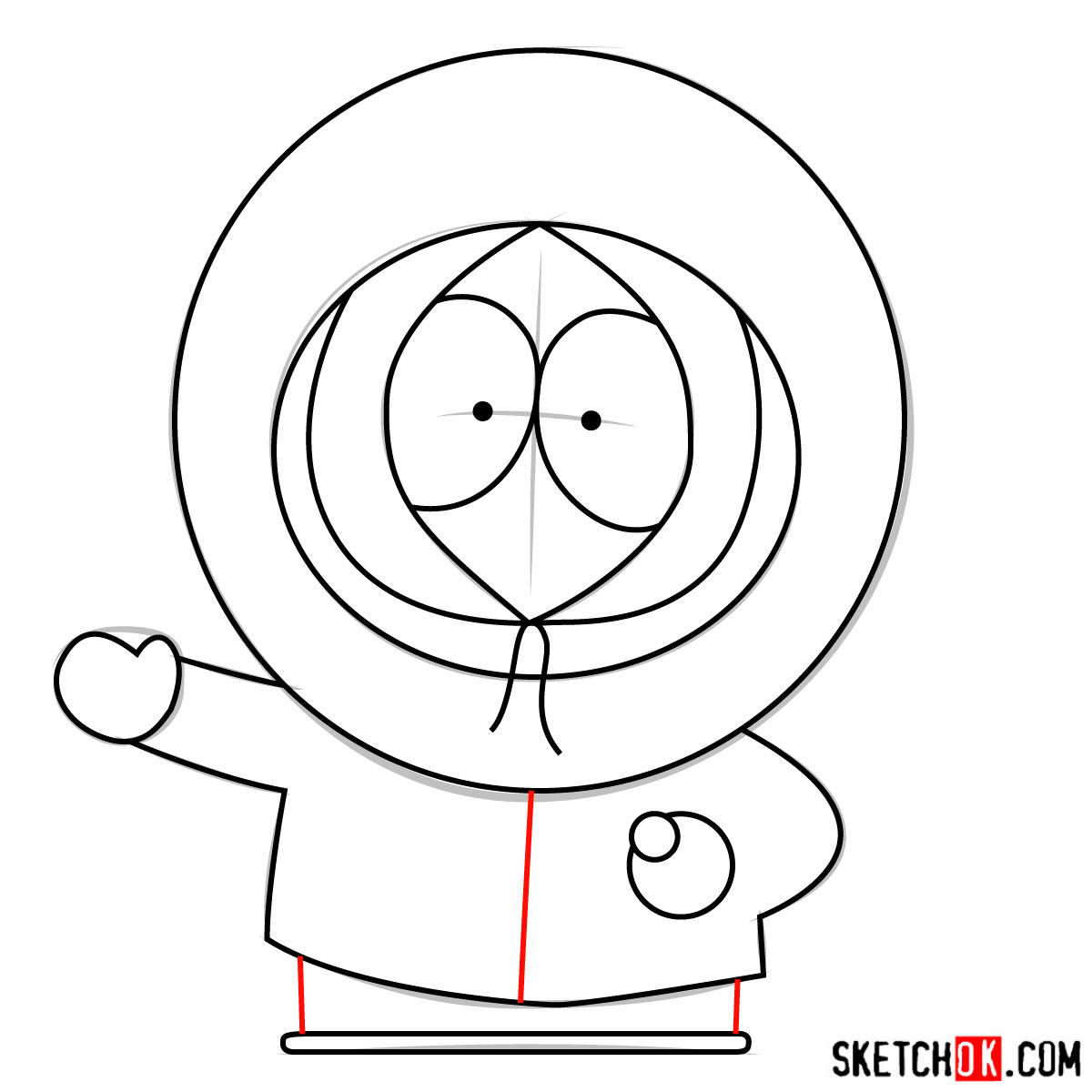 How to draw Kenny McCormick - step 08