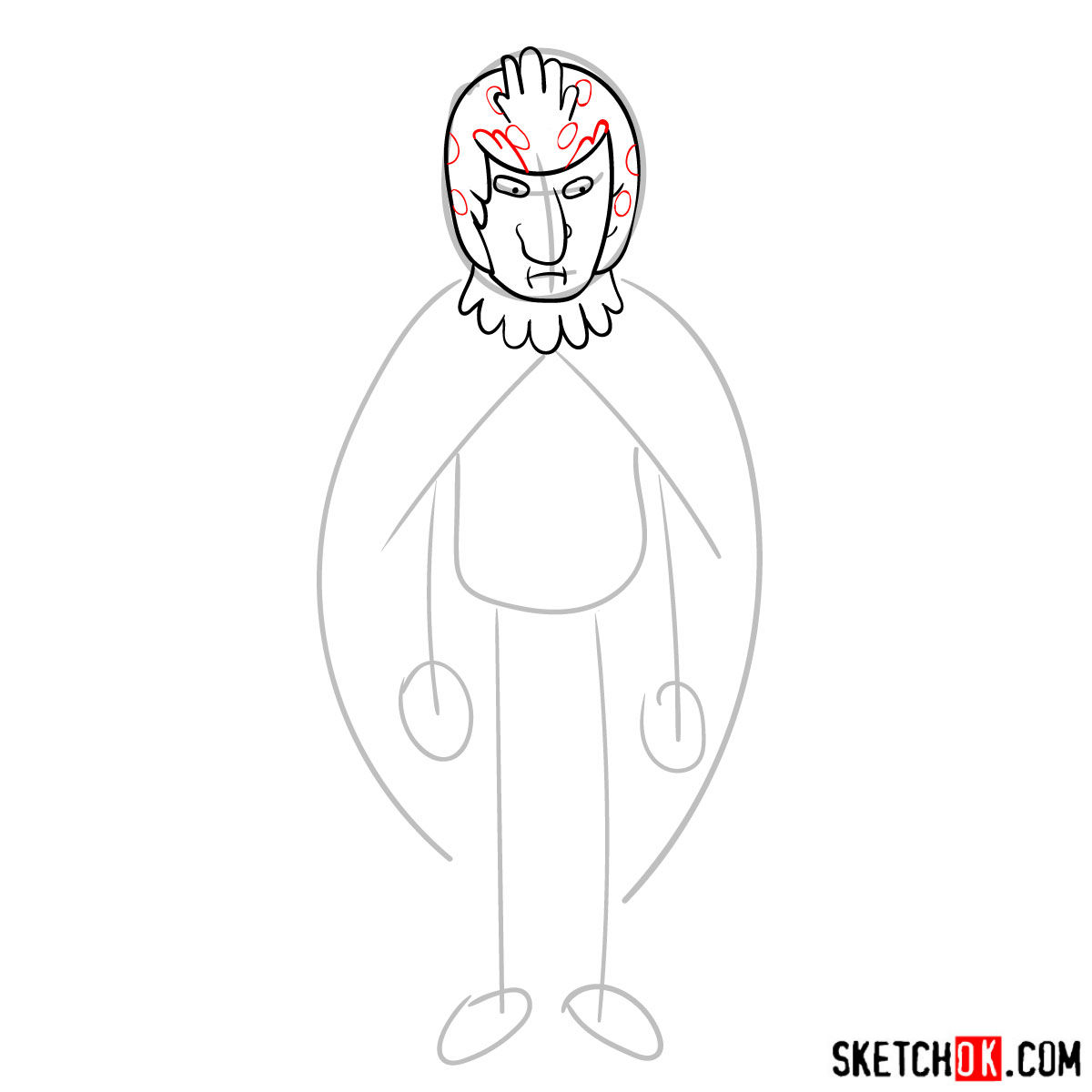 How to draw Birdperson from Rick and Morty series - step 05