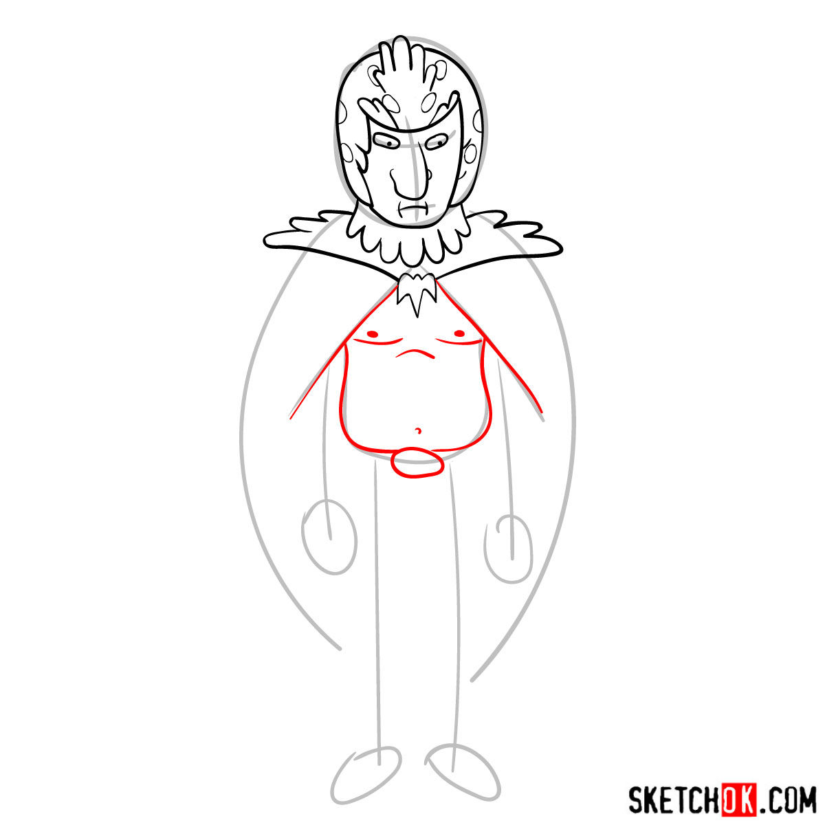How to draw Birdperson from Rick and Morty series - step 07