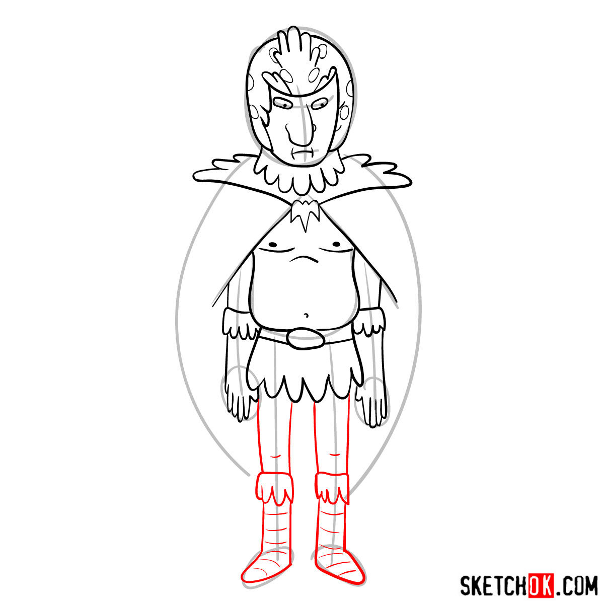 How to draw Birdperson from Rick and Morty series - step 10