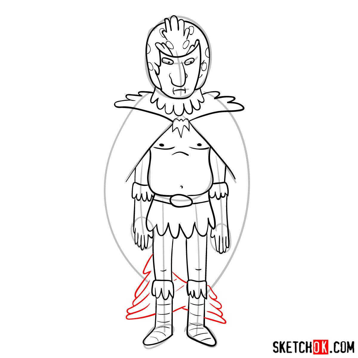 How to draw Birdperson from Rick and Morty series - step 11