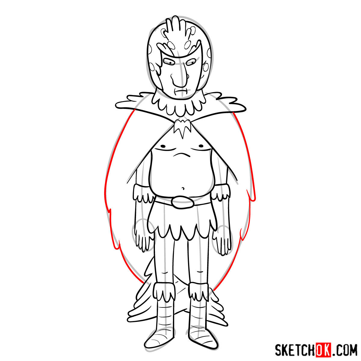 How to draw Birdperson from Rick and Morty series - step 12