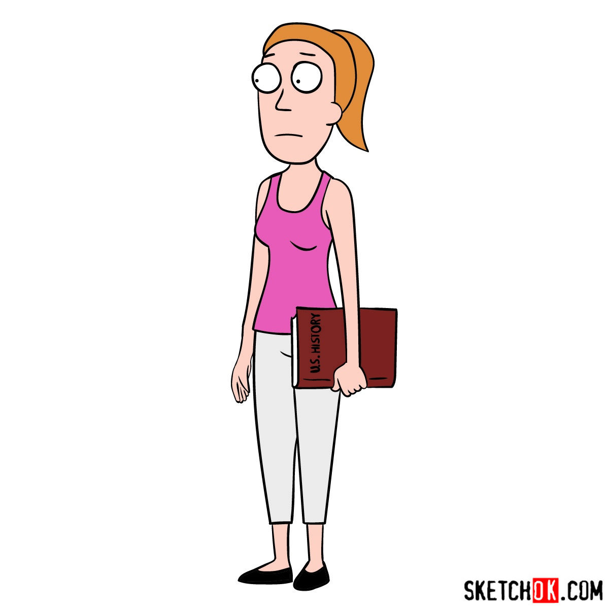 How to draw Summer Smith from Rick and Morty series