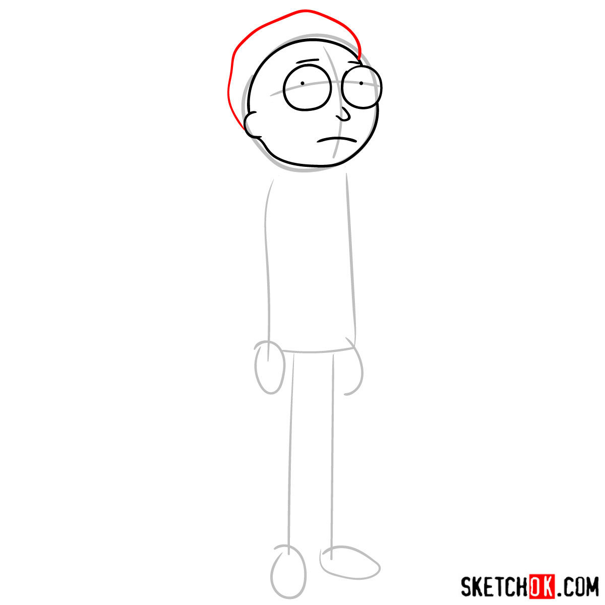 How to draw Morty Smith from Rick and Morty series - step 04
