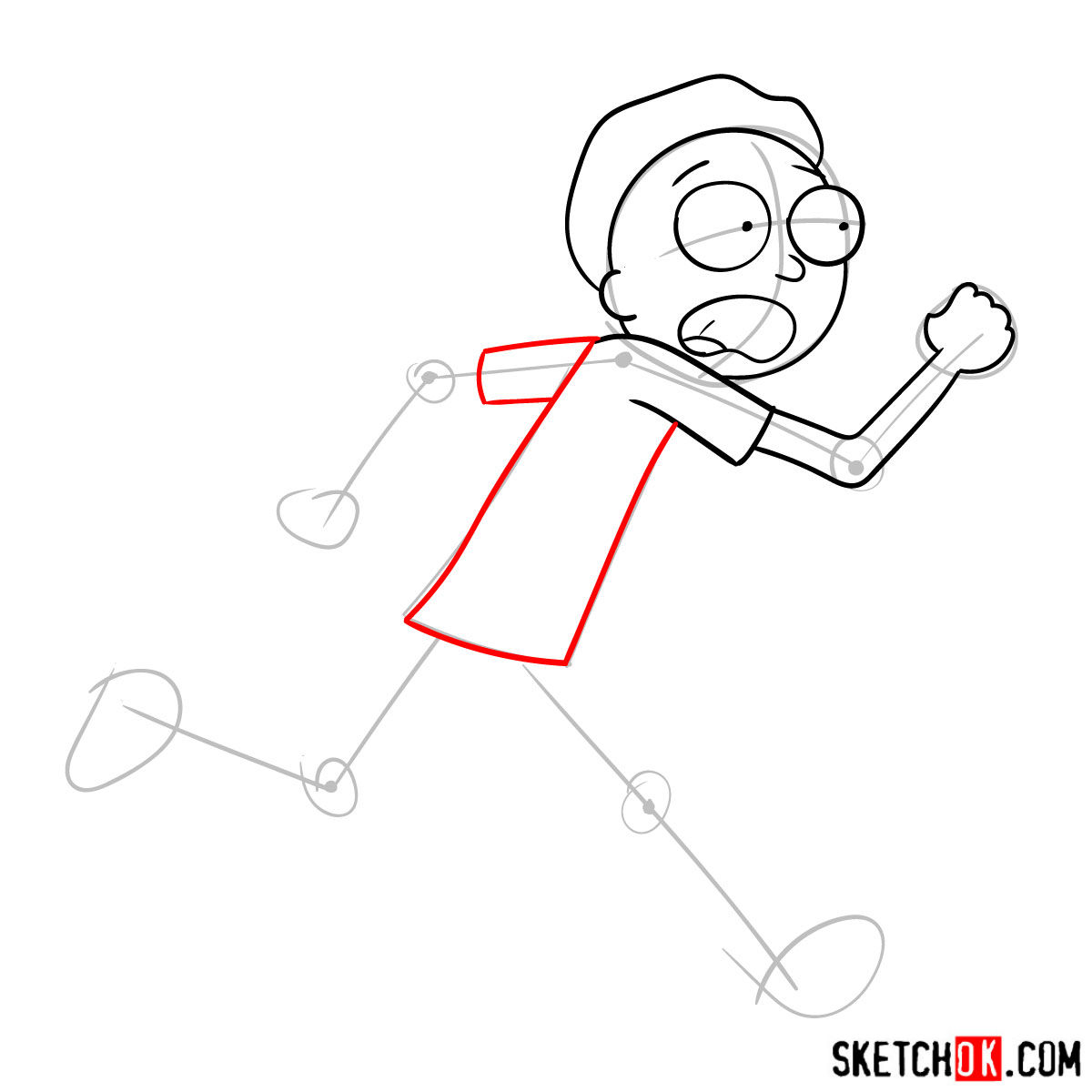 How to draw running Morty Smith - step 06