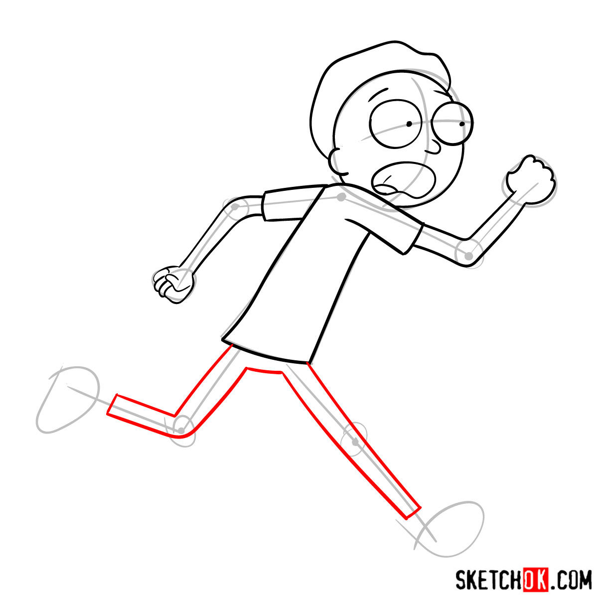 How to draw running Morty Smith - step 08