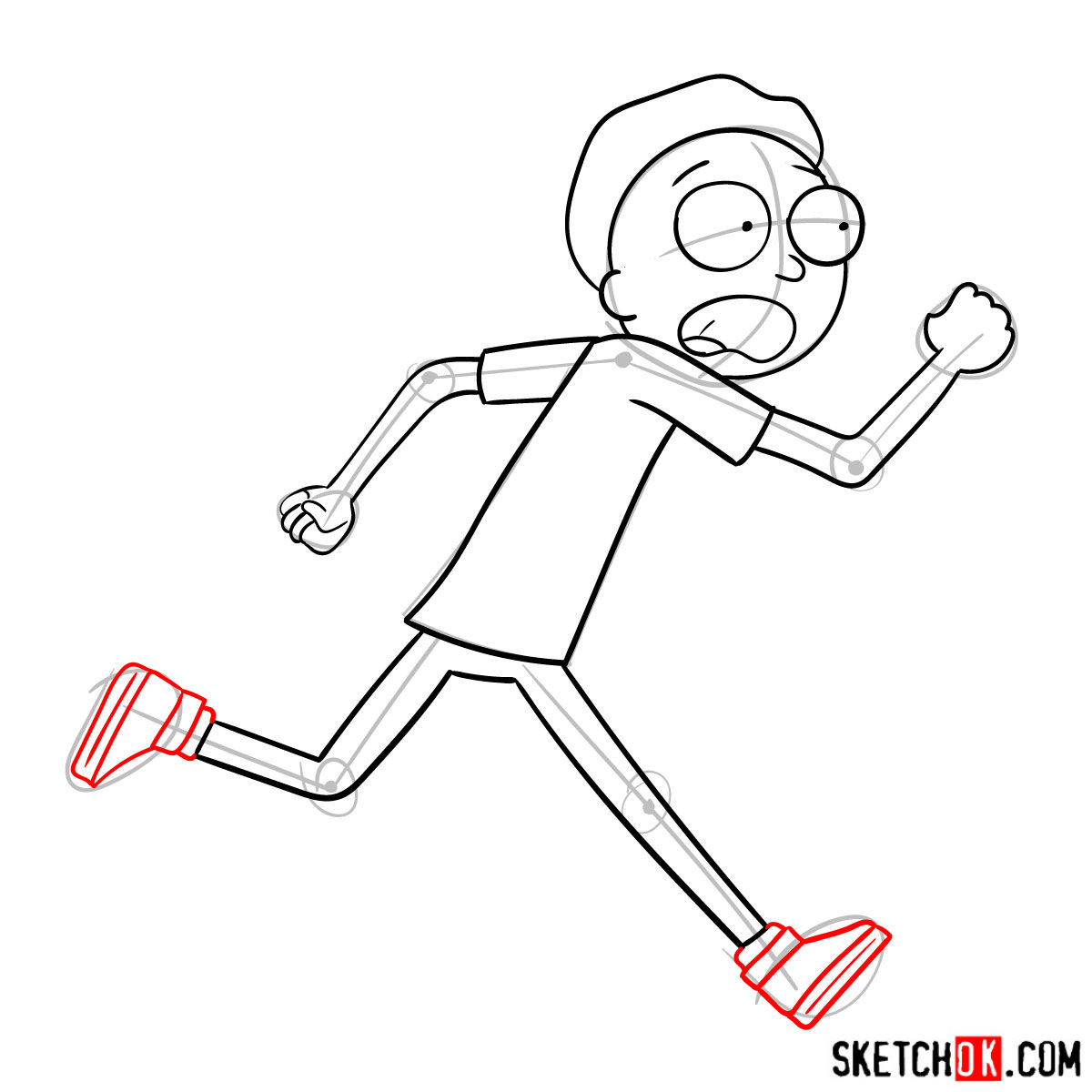 How to draw running Morty Smith - step 09