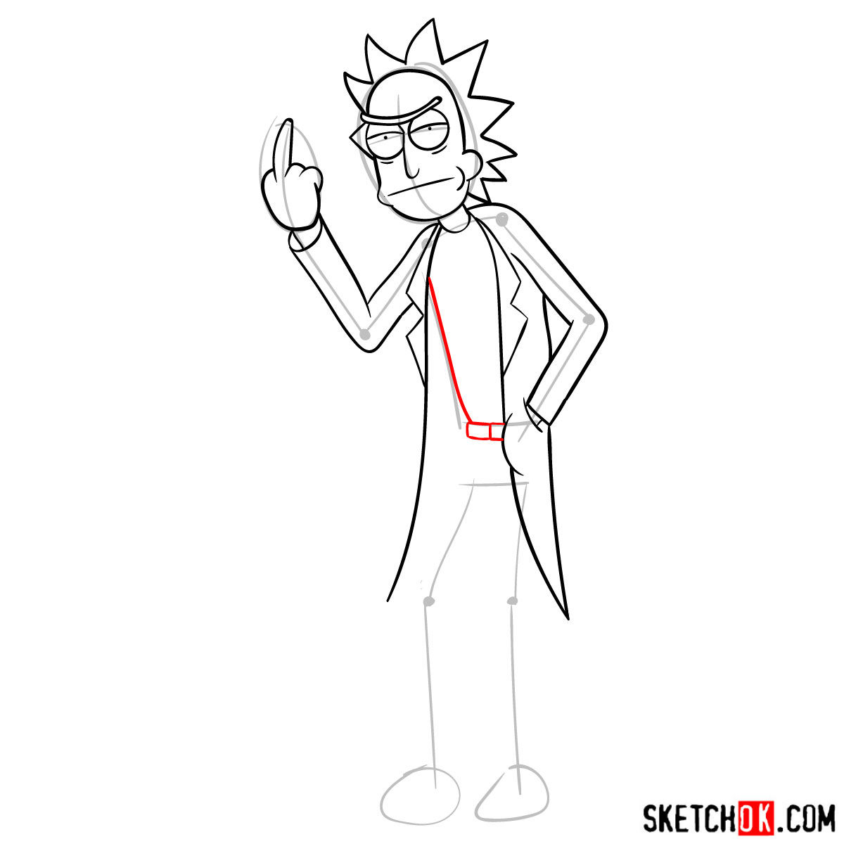 How to draw Rick showing his middle finger (Rick and Morty) - step 10