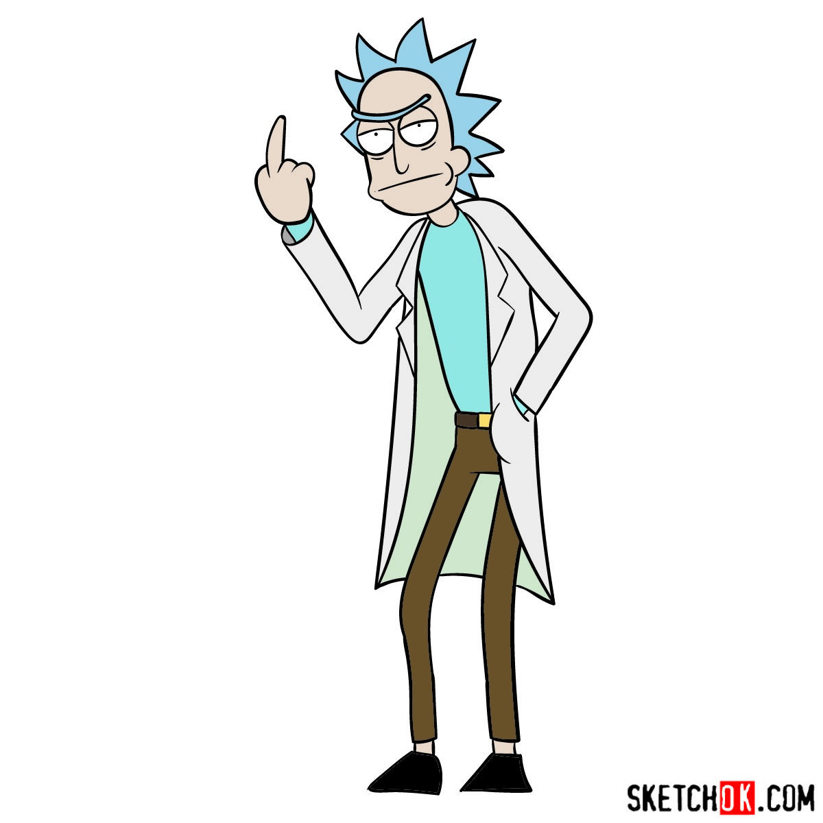 How to draw Rick showing his middle finger