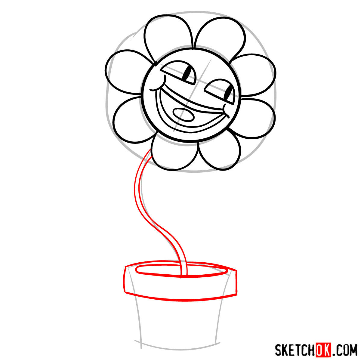 How to draw a pink flower Leslie from Gumball series - step 05
