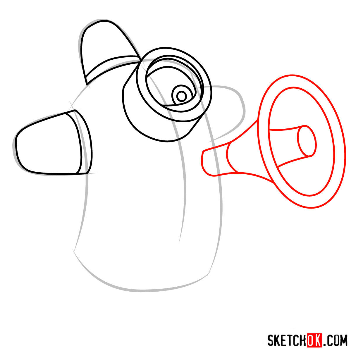 How to draw minion Carl with a loudspeaker - step 05