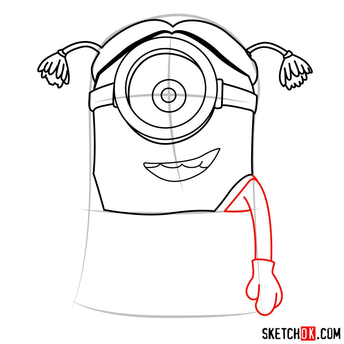 How to draw minion Stuart dressed as a girl - 