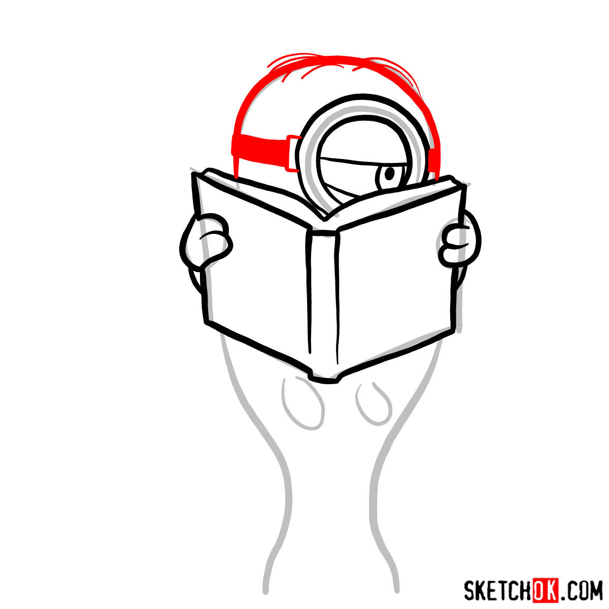 How to draw minion in the toilet reading a book - step 05