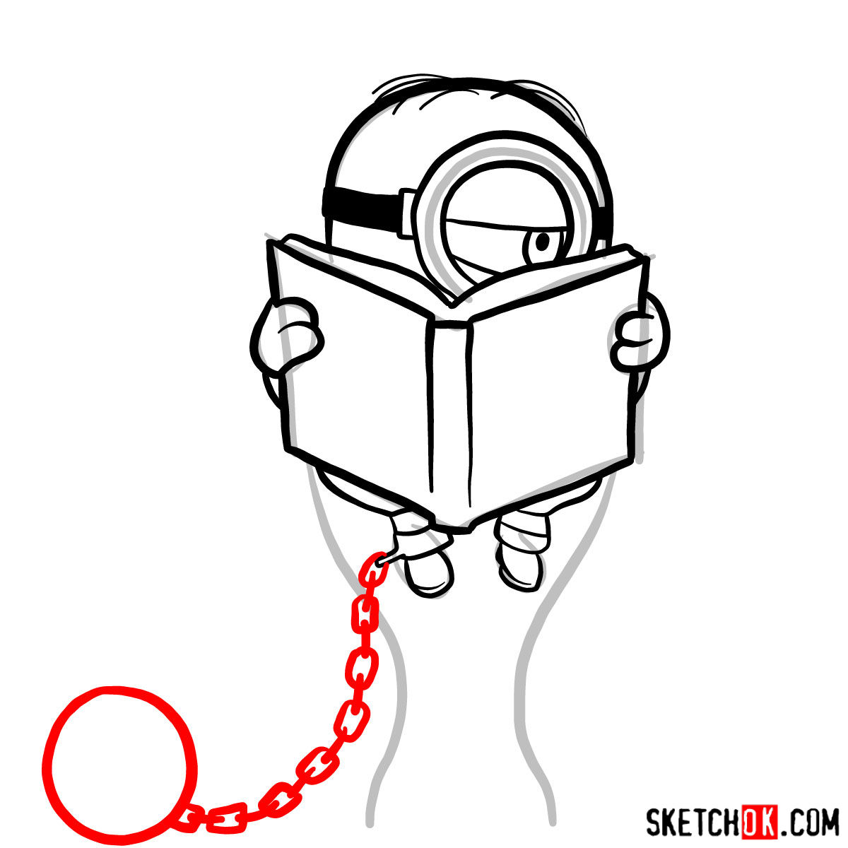 How to draw minion in the toilet reading a book - step 07