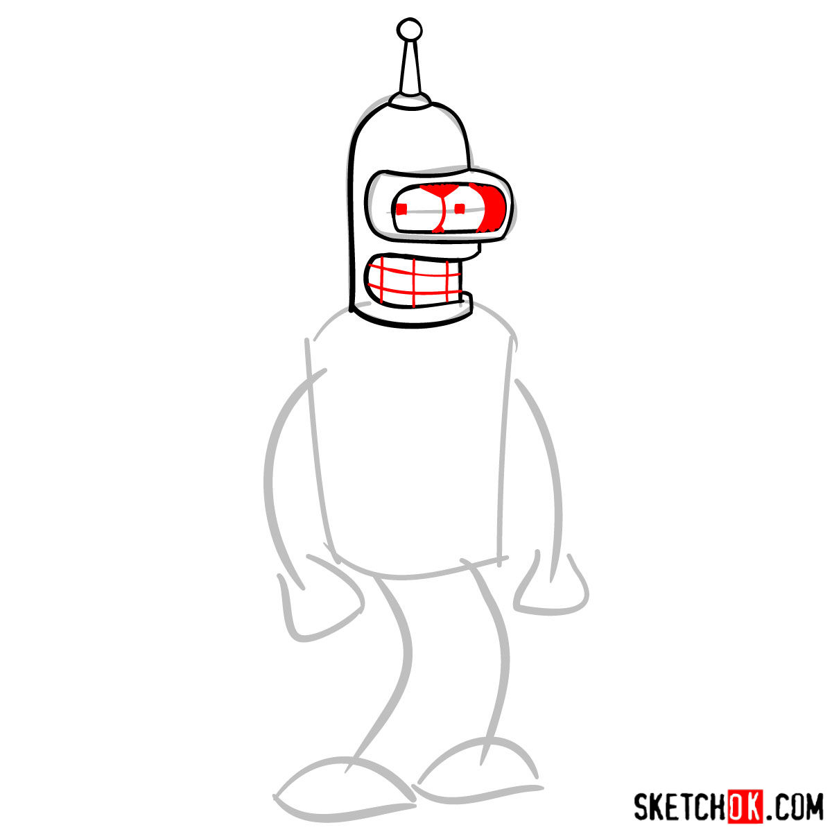 How to draw Bender Rodríguez - step 04