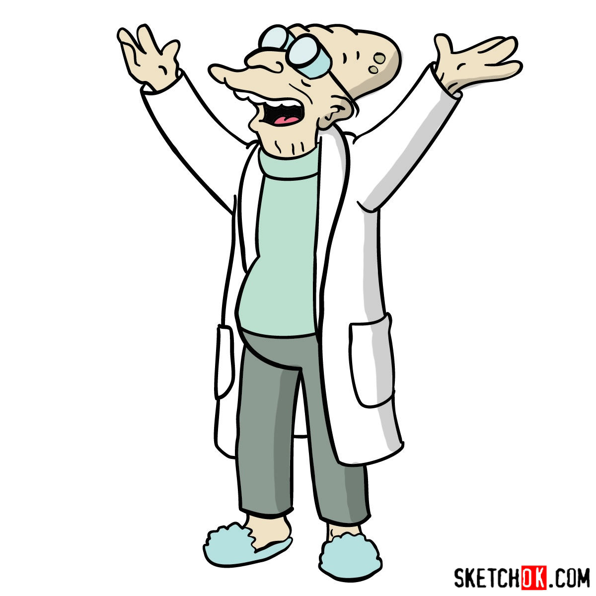 How to draw Professor Farnsworth