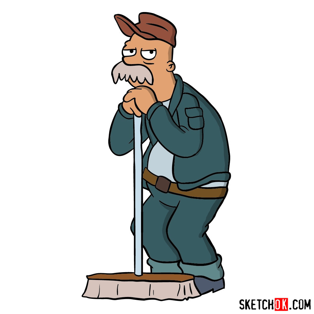 How to draw Scruffy the janitor