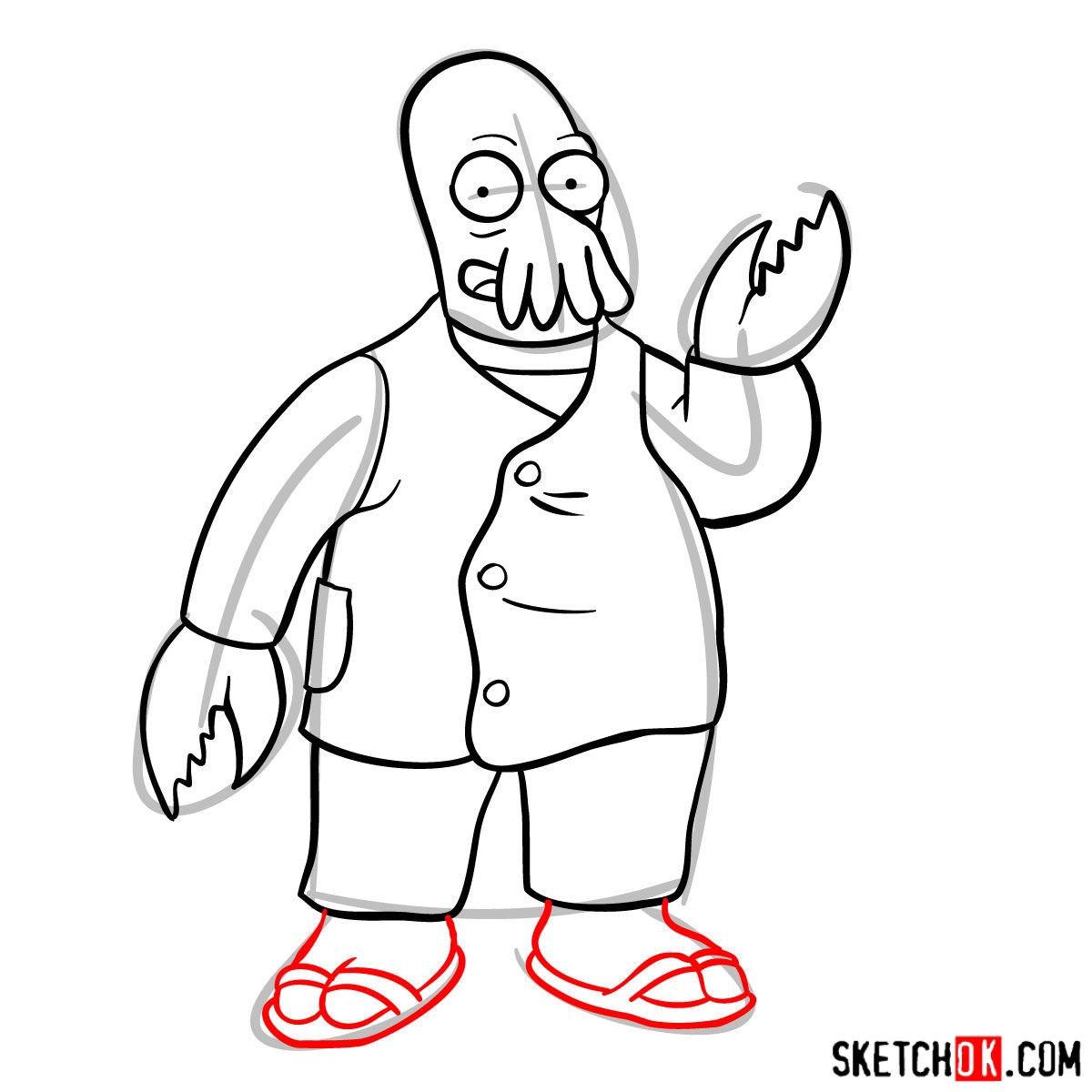 How to draw Doctor Zoidberg - step 10