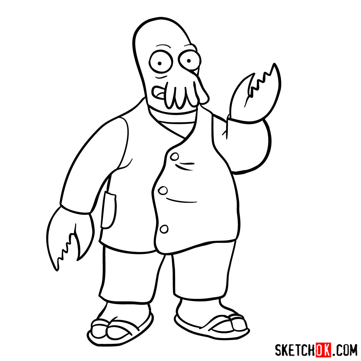 How to draw Doctor Zoidberg - step 11